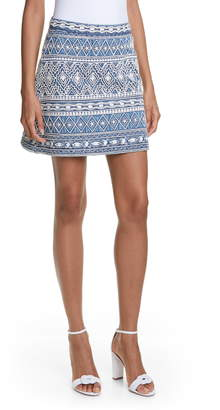 Alice + Olivia Riley Embroidery Detail Cotton Miniskirt