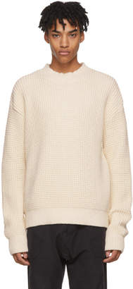 Aime Leon Dore Off-White Waffle Knit Mock Neck Sweater
