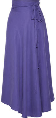 Apiece Apart Rosehip Tencel And Linen-blend Wrap Midi Skirt - Purple