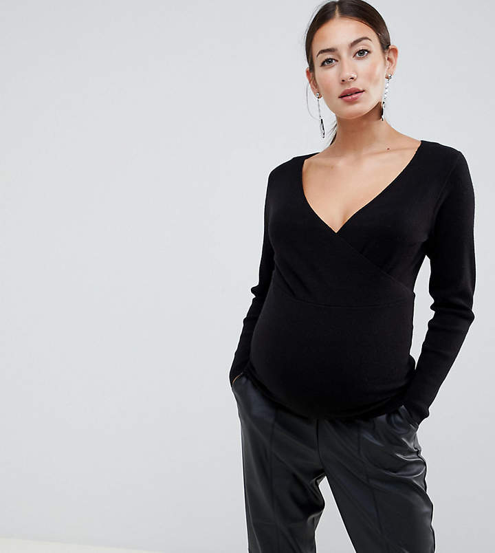 ASOS Maternity ASOS DESIGN Maternity Sweater With Wrap Detail