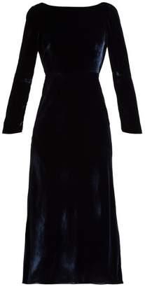Saloni Tina Boat Neck Velvet Dress - Womens - Navy