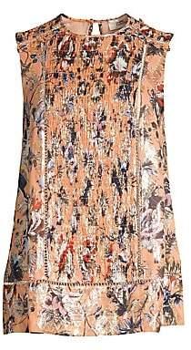 Diane von Furstenberg Women's Lottie Floral Smocked Metallic Silk-Blend Sleeveless Blouse