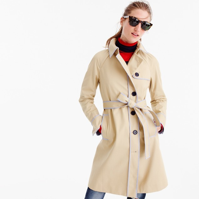 J.Crew for NET-A-PORTER® trench coat with striped piping