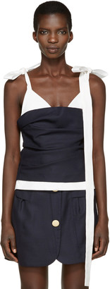 Jacquemus Navy & White 'Le Top Bustier' Tank Top $510 thestylecure.com