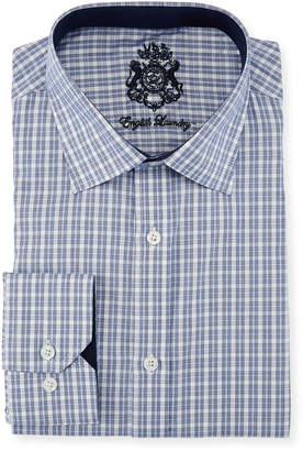 English Laundry Classic-Fit Micro-Plaid Dress Shirt, Blue/White