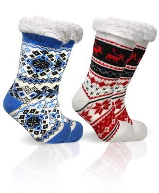 """B&CO Apparel""""Cozies"""" Pairs of Women's Winter Sherpa Slipper Socks Anti-Skid"""