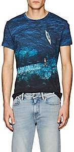 Orlebar Brown Men's OB-T Sea-Print Cotton Jersey T-Shirt - Blue
