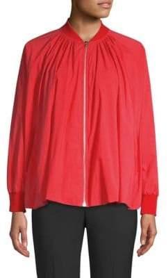Josie Natori Cotton Poplin Tent Bomber Jacket