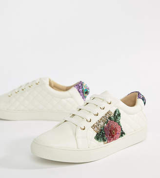 Kurt Geiger London Lily white rainbow and flower sneakers