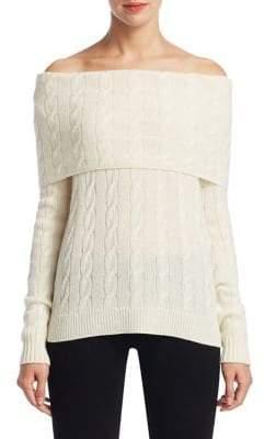 Ralph Lauren Cable-Knit Cashmere Off-The-Shoulder Sweater