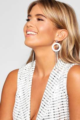 boohoo Iridescent Circle & Diamante Earrings