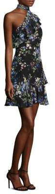 Parker Rodeo Floral One-Shoulder Silk Dress