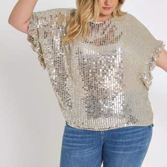 River Island Plus cream embellished frill sleeve top