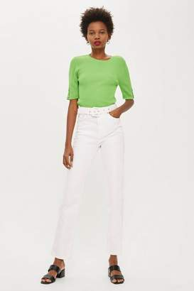 Topshop White Belted Straight Leg Jeans
