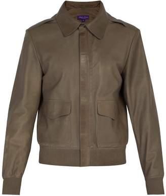 Ralph Lauren Purple Label Henfield Leather Aviator Jacket - Mens - Grey