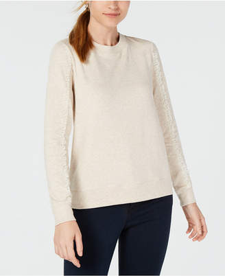 Maison Jules Lace-Trimmed Sleeve Sweatshirt, Created for Macy's