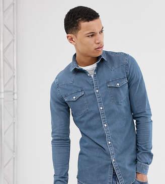 Asos Design DESIGN Tall skinny western denim shirt in mid wash