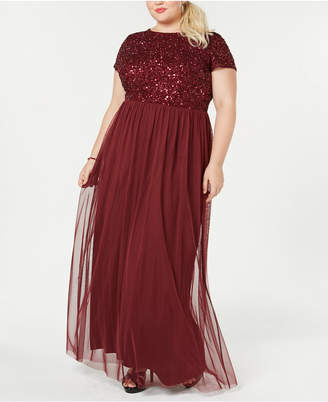 Adrianna Papell Plus Size Sequined Tulle A-Line Gown