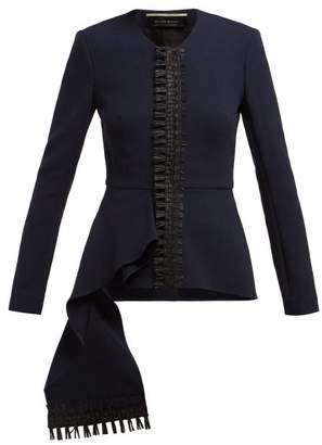 Roland Mouret Greenwood Asymmetric Wool Crepe Jacket - Womens - Navy