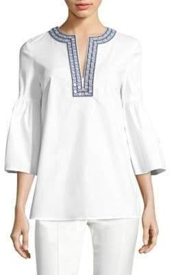 Tory Burch Ariana Crisp Poplin Mirror Applique Bell-Sleeve Tunic