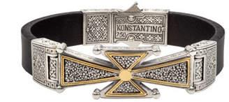 Konstantino Men's Stavros 18k Gold Cross Leather Cuff Bracelet