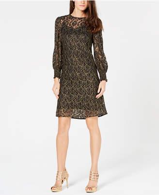Michael Kors Metallic Rose Lace Dress