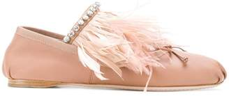 Miu Miu feather-trimmed ballerina shoes
