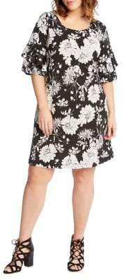 Karen Kane Floral Ruffle Sleeve Dress
