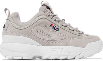 Fila Disruptor Ii Premium Logo-embroidered Suede Sneakers - Gray