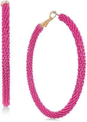 Thalia Sodi Gold-Tone Tassel Drop Hoop Earrings, Created for Macy's