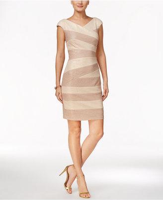 JAX Textured Metallic Sheath Dress $128 thestylecure.com