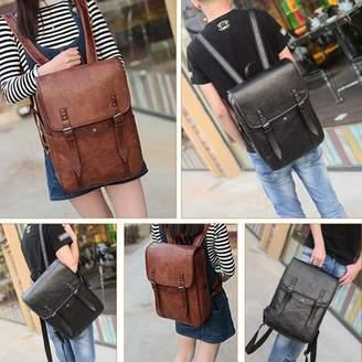 Vbiger ackpack, Men Vintage PU Leather Backpack Laptop Backpack School Bookbag for Men, Black