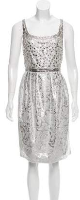 Carmen Marc Valvo Metallic Knee-Length Dress