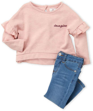 AG Adriano Goldschmied Kids (Infant Girls) Two-Piece Ruffle Top & Jeans Set