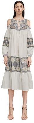 BCBGMAXAZRIA Cold-Shoulder Embroidered Cotton Dress