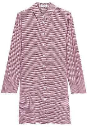 Equipment Printed Silk Crepe De Chine Mini Shirt Dress