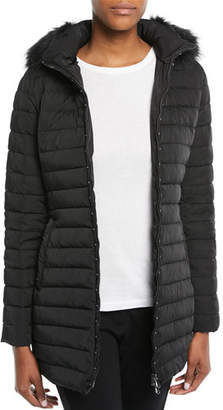 Emporio Armani Zip-Front Fitted Quilted Puffer Parka Jacket w/ Detached Hood