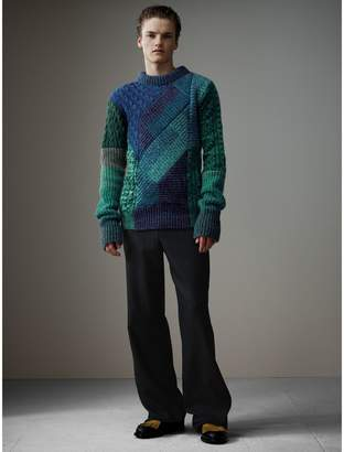 Burberry Cashmere Wool Mouliné Patchwork Sweater