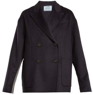 Prada Double Breasted Peak Lapel Wool Blend Coat - Womens - Navy