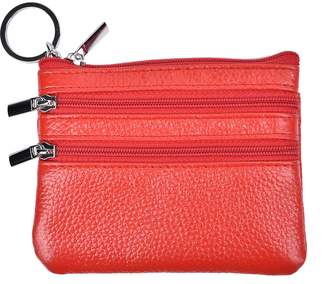 Yeeasy Womens Mini Coin Purse Wallet Genuine Leather Zipper Pouch with Key Ring
