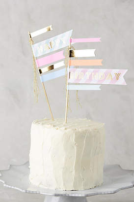 Anthropologie Happy Birthday Cake Flags