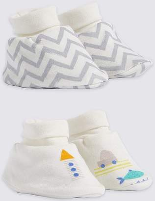 Marks and Spencer 2 Pack Pure Cotton Booties