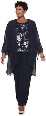 Le Bos Plus Size Embroidered Bell Sleeve Top, Cardigan & Pants Set
