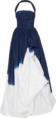 Oscar de la Renta Pleated Dip-Dyed Silk Gown