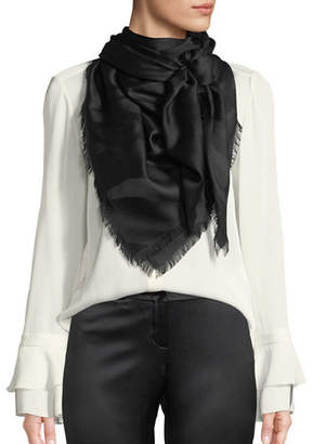 Roberto Cavalli Zebra Jacquard Silk/Wool Scarf
