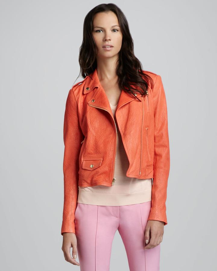 Theory Elenian Fabric Moto Leather Jacket