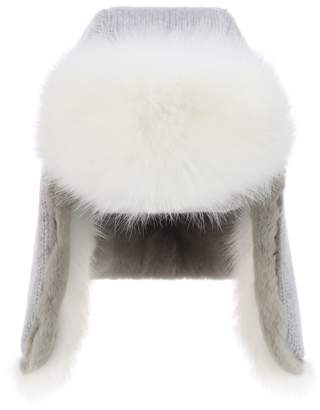 Yves Salomon Cashmere and fur hat