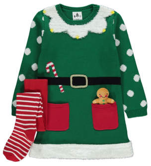 George Green Elf Dress Tights and Accessory Christmas Outfit