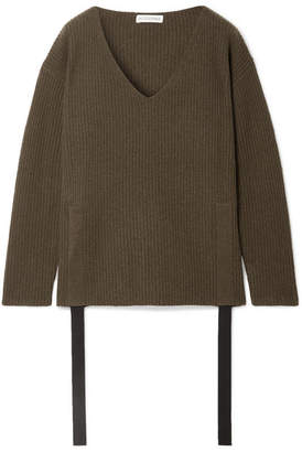Altuzarra Baez Grosgrain-trimmed Ribbed Cashmere Sweater - Army green