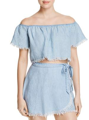 Show Me Your Mumu Off-the-Shoulder Chambray Top